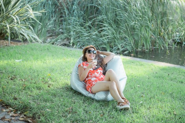 Outdoor Bean Bag Hire - lady relaxing